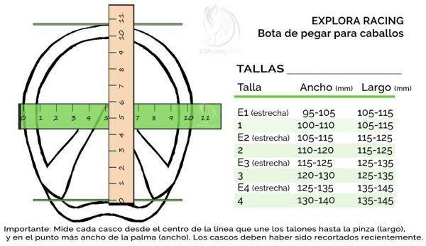 Medidas y tallas de la bota Explora Racing