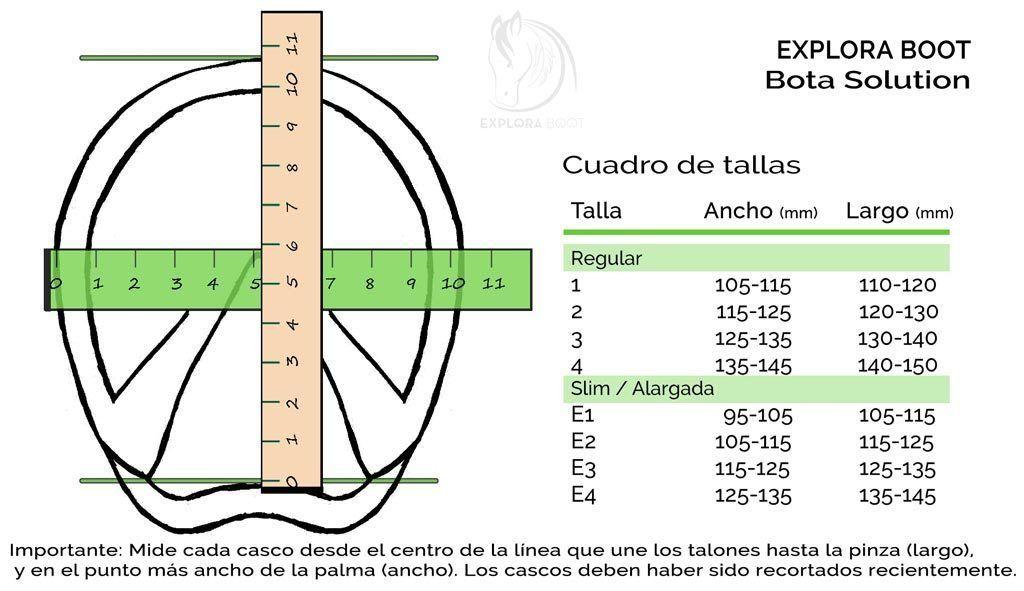 Cuadro de tallas del modelo Solution de Explora Boot
